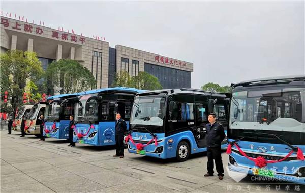 """以公交提升城市美感 37辆金龙""""绿色""""公交闽侯上线"""